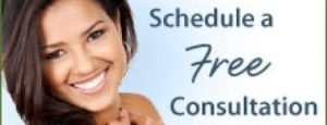 Schedule a free dental consultation banner with woman smiling